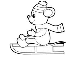 Раскраски для малышей машка на санках