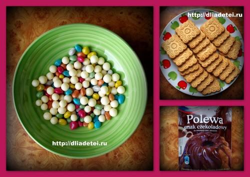 Радужный десерт, дети готовят сами, десерт из печенья