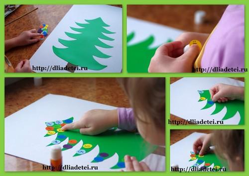 новогодние аппликации для детей, буквенная ёлочка, учим буквы